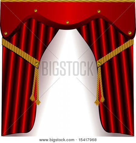 Vector Red Satin Drapes
