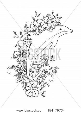 Coloring page with one jumping dolphin on floral waves. Vertical composition. Coloring book for adult and older children. Editable vector illustration.
