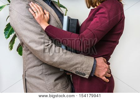 Man Touching Woman's Loin - Sexual Harassment In Office