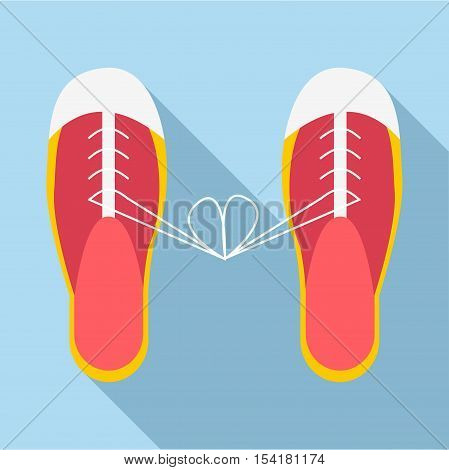 Tied laces on shoes icon. Flat illustration of tied laces on shoes vector icon for web