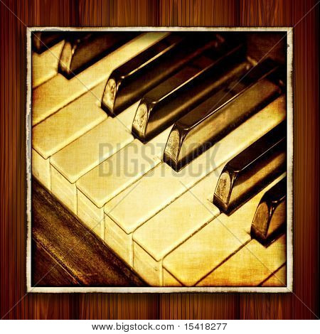 Vintage Piano Keys Photoart On Wood Wall