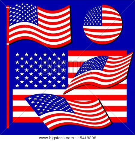 Vector American Flag Set