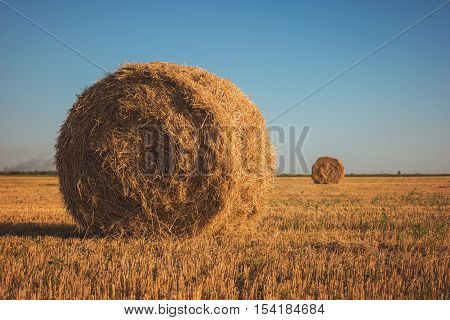 Stack of hay on field. Straw on sky background. Homeland needs working hands. Saving ecology is priority.