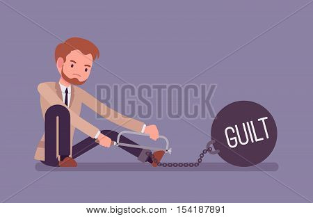 Businessman chained with a giant metall weight with a title Guilt trying to escape, sawing. Cartoon vector flat-style concept illustration
