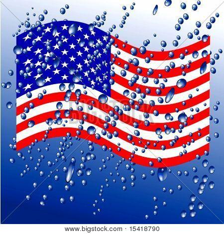 Pingos de chuva na bandeira americana de vetor, veja Jpeg também na minha carteira