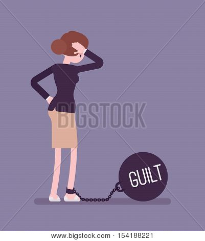 Businesswoman chained with a giant metall weight, written Guilt on a ball, thinking the problem over, scratching her head. Rear view. Cartoon vector flat-style concept illustration