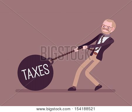 Businessman dragging a giant heavy weight on chain, written Taxes on a ball. Cartoon vector flat-style concept illustration