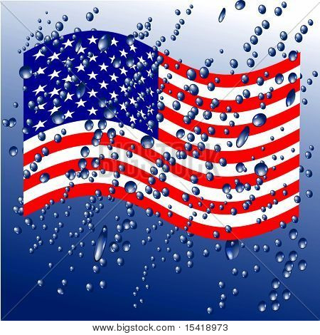 Raindrops On American Flag, See Vector Also In My Portfolio