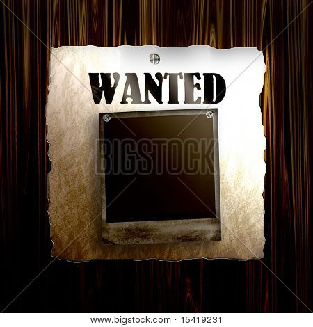 Old Wanted Poster On Wood With Blank Old Photo Frame
