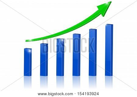 Green indication arrow. Up arrow rising statistic financial graphic. Vector illustration isolated on white background