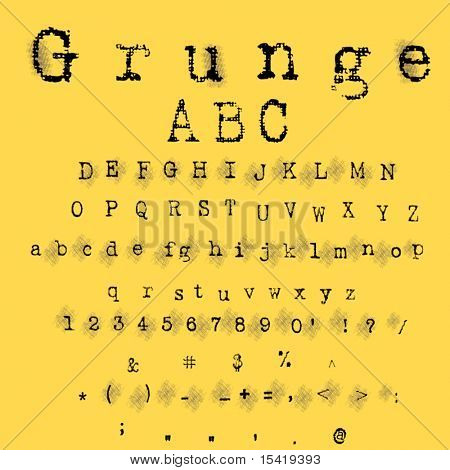 Vector Grunge Letter And Numbers Set