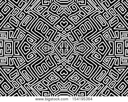 Background Aztec Abstract Maya Shapes Tribal Black White 2