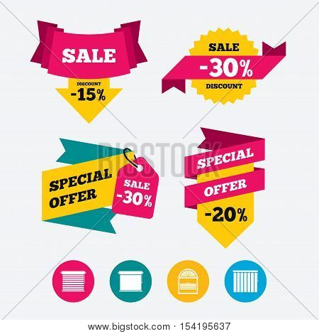 Louvers icons. Plisse, rolls, vertical and horizontal. Window blinds or jalousie symbols. Web stickers, banners and labels. Sale discount tags. Special offer signs. Vector