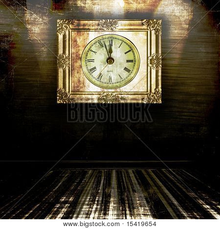 Vintage Clock In Grunge Room
