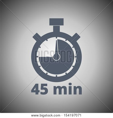 45 minutes stopwatch symbol, Vector Timer icon