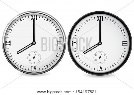Clock with roman numerals. Eight o'clock. Vector illustration isolated on white background