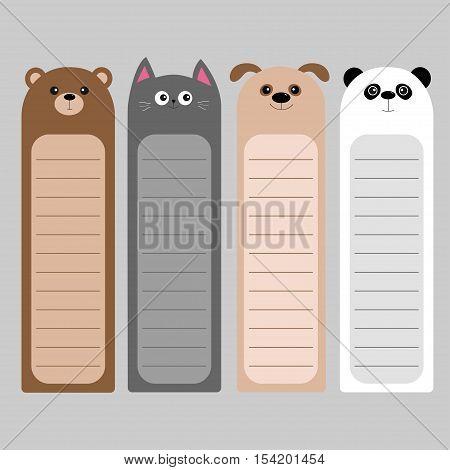 Cartoon kawaii baby bear cat dog panda. Animal head set. Bookmark paper sticker collection. Notepad template. Flat design. Gray background. Vector illustration