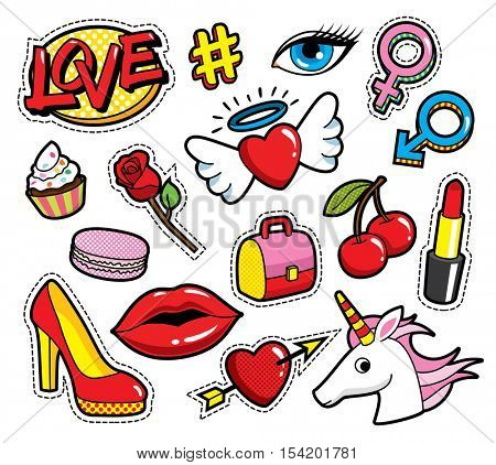 Fashion patch badges with lips, hearts, love and other elements. Vector illustration isolated on white background. Set of stickers, pins, patches in cartoon 80s-90s comic style.