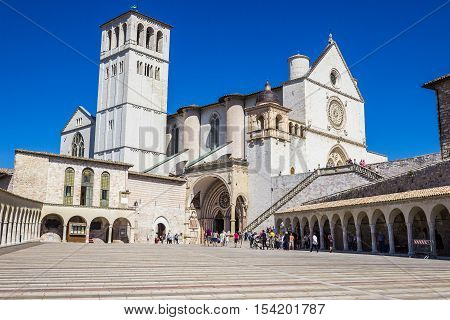 ASSISI ITALY - SEPTEMBER 4 2016: Basilica di San Francesco in Assisi Italy