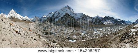 Panoramic view of khumbu glacier Nuptse and Pumo Ri near Gorak Shep village way to everest base camp Khumbuvalley sagarmatha national park - Nepal