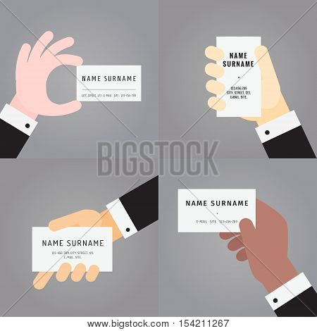 Business card in hand (in suit) flat vector set on gray background.