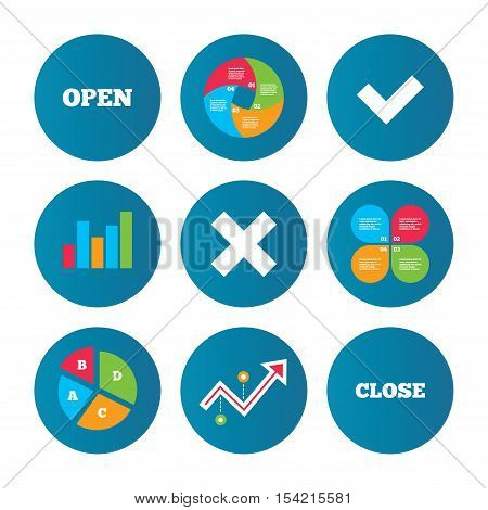 Business pie chart. Growth curve. Presentation buttons. Open and Close icons. Check or Tick. Delete remove signs. Yes correct and cancel symbol. Data analysis. Vector