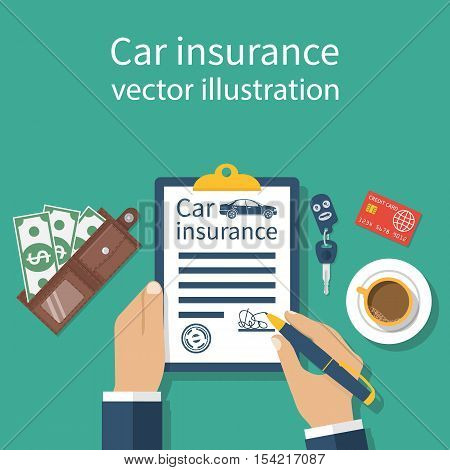 Car insurance form. Man signs a legal document auto insurance. Keys money credit card on the background. Vector illustration flat design.