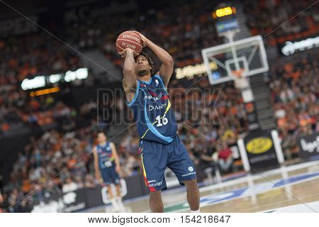 VALENCIA, SPAIN - OCTOBER 30th: Albicy during spanish league match between Valencia Basket and Morabanc Andorra at Fonteta Stadium on October 30, 2016 in Valencia, Spain