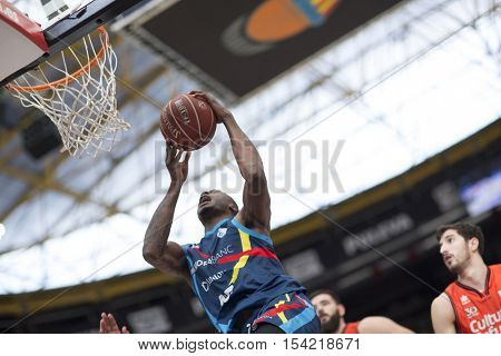 VALENCIA, SPAIN - OCTOBER 30th: Antetokounmpo with ball during spanish league match between Valencia Basket and Morabanc Andorra at Fonteta Stadium on October 30, 2016 in Valencia, Spain