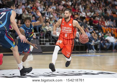VALENCIA, SPAIN - OCTOBER 30th: Diot with ball during spanish league match between Valencia Basket and Morabanc Andorra at Fonteta Stadium on October 30, 2016 in Valencia, Spain