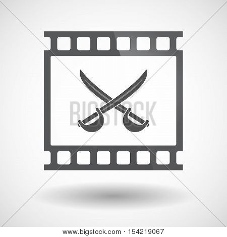 Isolated 35Mm Film Frame Slide Photogram With  Two Swords Crossed