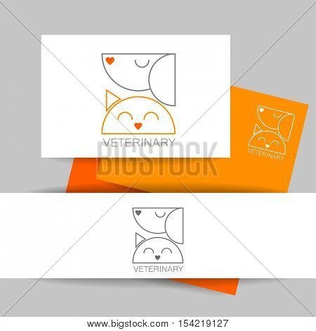 Veterinary clinic identity design. Business presentation template. Idea for veterinary, pet shop, vet clinic, animal care, or other pet help and etc. Vector design.