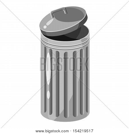 Trash can icon. Gray monochrome illustration of trash can vector icon for web