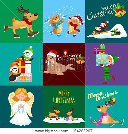 Illustration set animals winter holiday North Pole penguins presents and sledding down the hills, bears under snow elf boxes, deer skating, walrus in hat, vector angel.Merry Christmas and Happy New Year