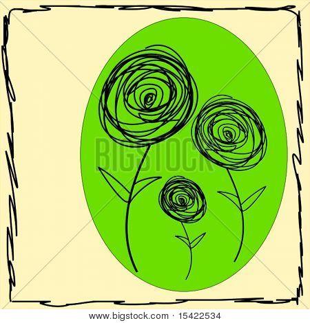 Vector Doodle Retro Flowers
