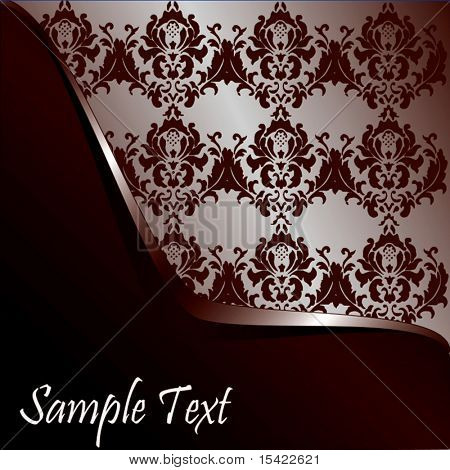 Vector Chocolate Brown Wave On Damask Wallpaper