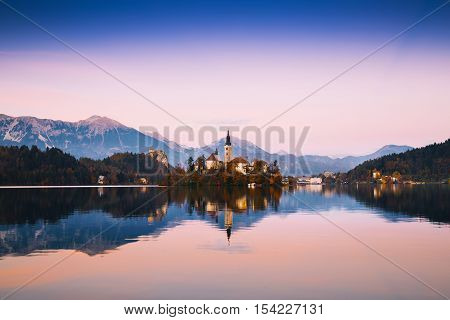 Amazing Bled Lake On Sunset, Slovenia, Europe