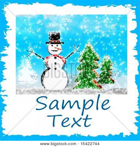 Vector Snowman Scene Card