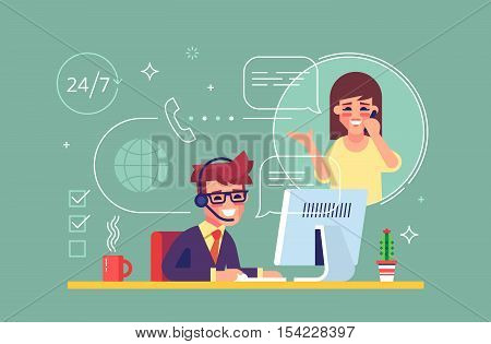 Happy male helpline operator with headset consulting a client. Online global tech support 24 on 7. Operator and customer. Technical support concept. Vector illustration in flat design.