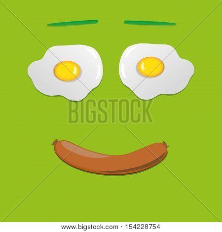 Good morning smile. Green background. Vector Illustration