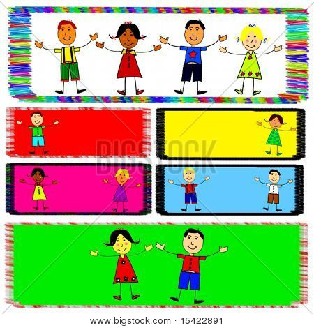 Vector Kids On Colorful Banners. Easily Mix And Change Layouts.