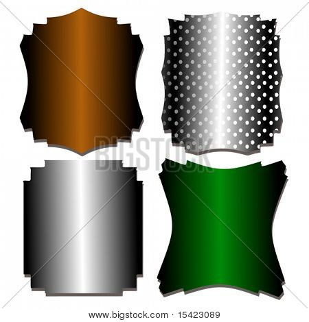 Vector Set Of Metal Shields