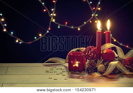 Traditional Christmas decorations still-life on a wooden table