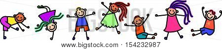 A group of happy and diverse boys and girls. Image can be used as a page border.