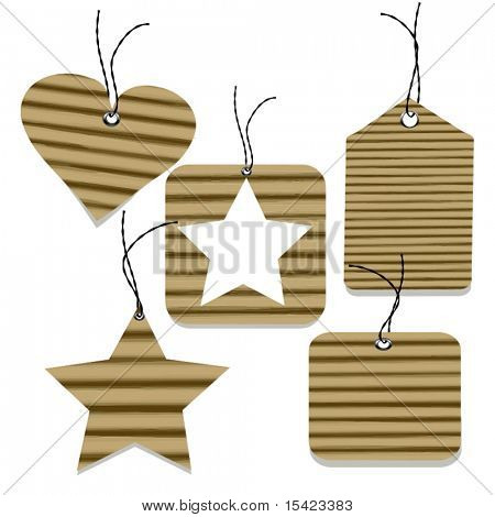 Vector Cardboard Gift Tag Set