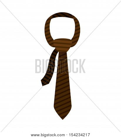 brown tie with knot and striped vector illustration