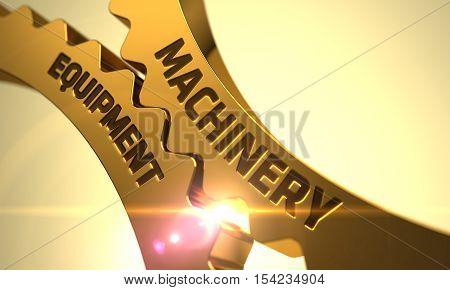 Machinery Equipment Golden Metallic Cogwheels. 3D Render.
