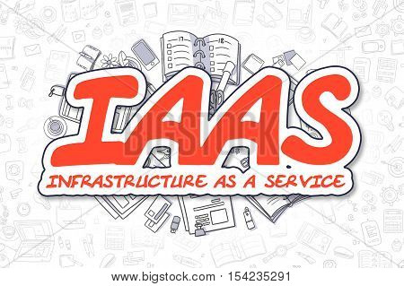 Doodle Illustration of IaaS - Infrastructure As A Service, Surrounded by Stationery. Business Concept for Web Banners, Printed Materials.