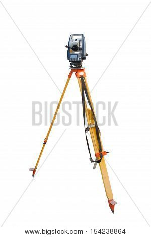 Tachymeter on tripod a total station or TST (total station theodolite) is an electronic/optical instrument used in modern surveying and building construction for the rapid measurement of distances isolated on white background.