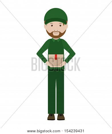 body messenger with sealed small box vector illustration